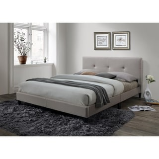 LYKE Home Jackson Tufted Cream Platform Bed
