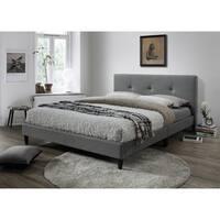 LYKE Home Jackson Tufted Gray Platform Bed