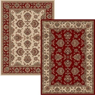 Virginia Oriental Red and Ivory Two Piece Area Rug Set - 5'5 x 7'7