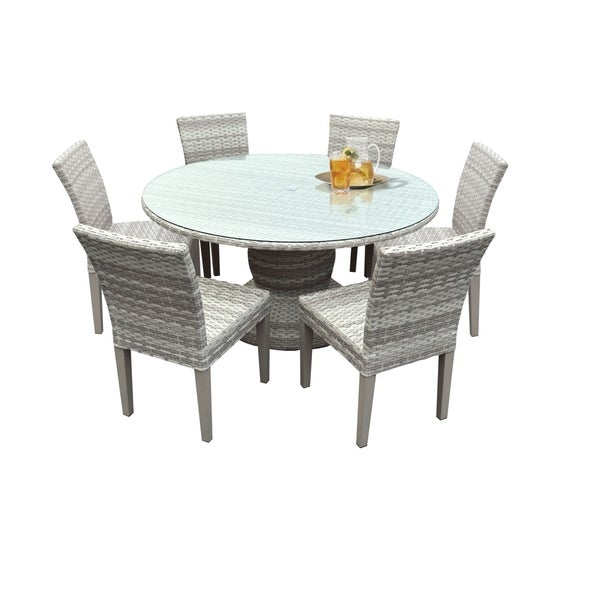 Round Table And Chairs For 6: Shop Catamaran Outdoor Patio Round Wicker Dining Table