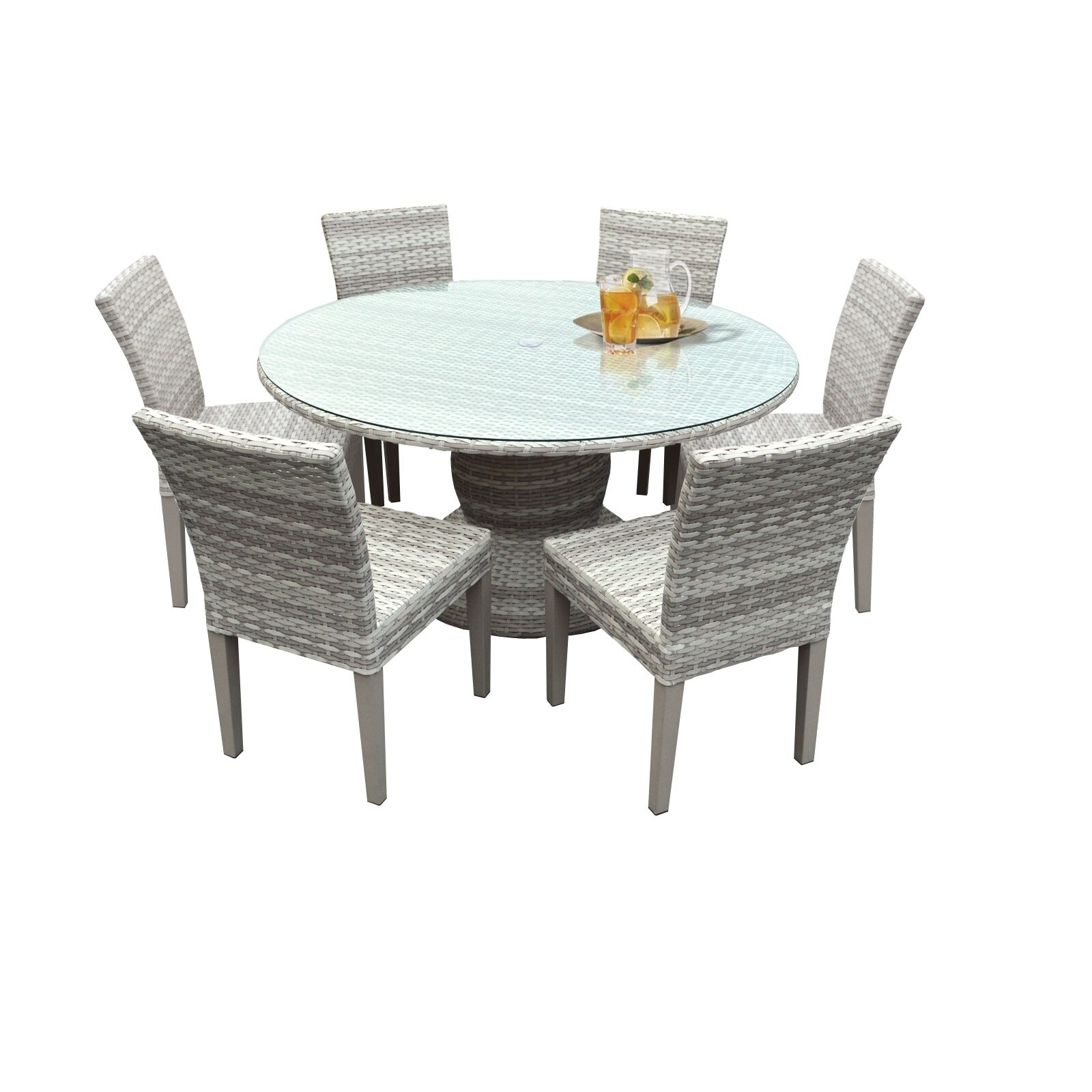 Catamaran Outdoor Patio Round Wicker Dining Table with Gl...