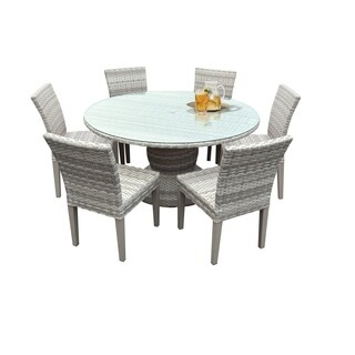 Catamaran Outdoor Patio Round Wicker Dining Table with Glass Topper and 6 Side Chairs