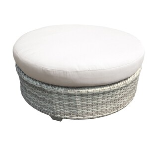 Catamaran Outdoor Patio Round Wicker Coffee Table with Cushion Topper