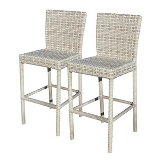 Catamaran Outdoor Patio Wicker Bar Stools (Set of 2)