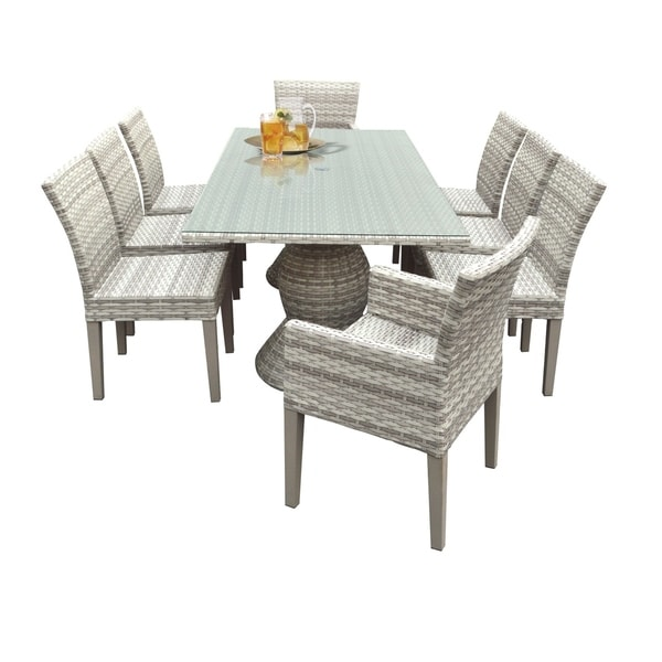 Catamaran Outdoor Patio Rectangular Wicker Dining Table With 6 Side Chairs And 2 Arm