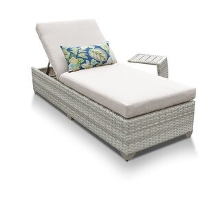 Catamaran Outdoor Patio Wicker Chaise Lounge with Side Table