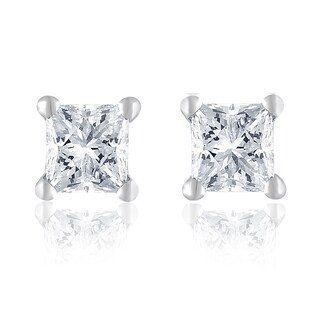 14k White Gold 1/2ct TDW Princess Diamond Studs