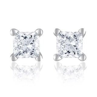 14k White Gold 1/3ct TDW Princess Diamond Studs
