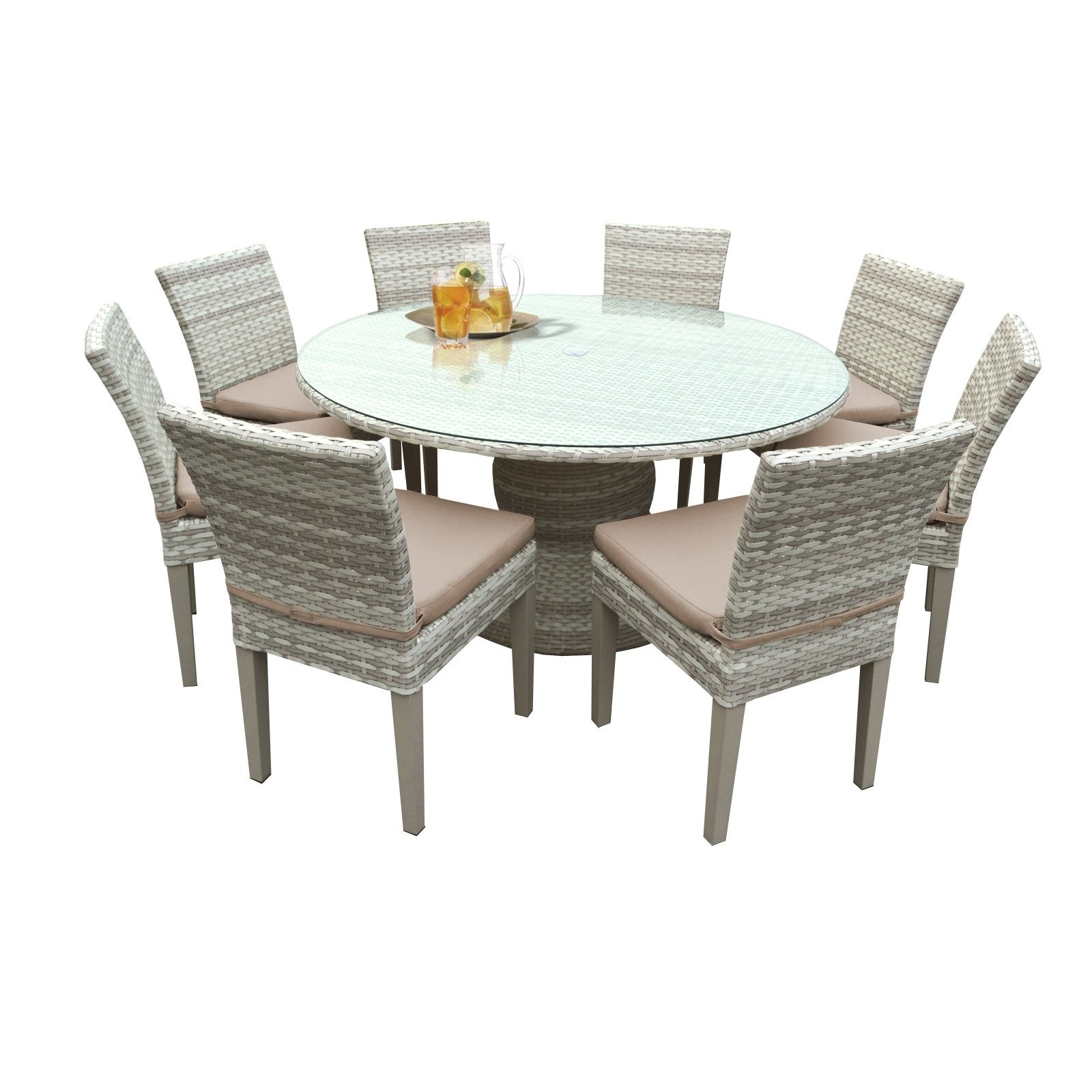 catamaran outdoor patio round wicker dining table and 8. Black Bedroom Furniture Sets. Home Design Ideas
