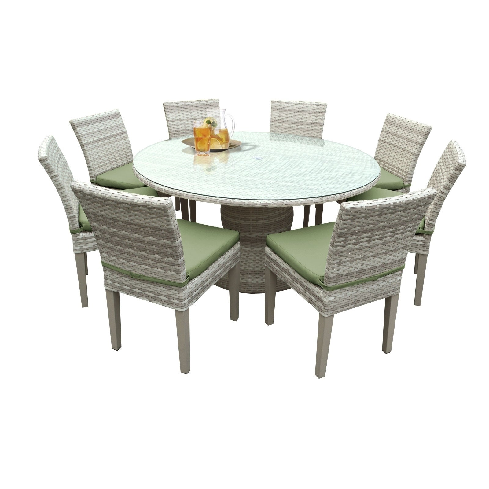 catamaran outdoor patio round wicker dining table and 8 side chairs with seat ebay. Black Bedroom Furniture Sets. Home Design Ideas