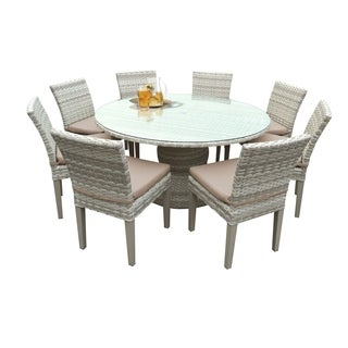 Catamaran Outdoor Patio Round Wicker Dining Table and 8 Side Chairs with Seat Cushions