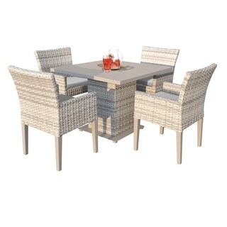 Catamaran Outdoor Patio Square Wicker Dining Table and 4 Arm Chairs with Seat Cushions