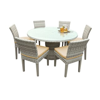 Catamaran Outdoor Patio Round Wicker Dining Table with Glass Topper and 6 Side Chairs with Seat Cushions (Option: Honey)