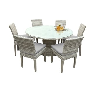 Catamaran Outdoor Patio Round Wicker Dining Table with Glass Topper and 6 Side Chairs with Seat Cushions
