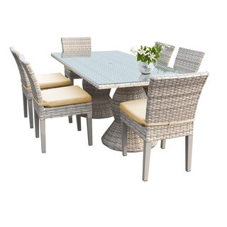 Catamaran Outdoor Patio Rectangular Wicker Dining Table and 6 Side Chair with Seat Cushions