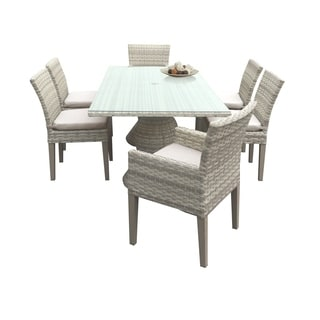 Catamaran Outdoor Patio Rectangular Wicker Dining Table with 4 Side Chairs and 2 Arm Chairs