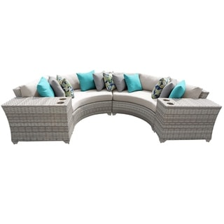 Catamaran 4-Piece Outdoor Patio Wicker Sectional with Beverage Ledges