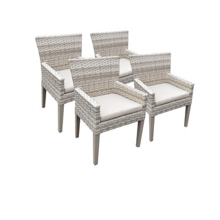 Catamaran Outdoor Patio Wicker Dining Chairs with Arms and Seat Cushions (Set of 4)