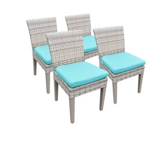 Catamaran Outdoor Patio Wicker Side Chairs with Seat Cushions (Set of 4)
