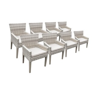 Catamaran Outdoor Patio Wicker Dining Chairs with Arms and Seat Cushions (Set of 8)