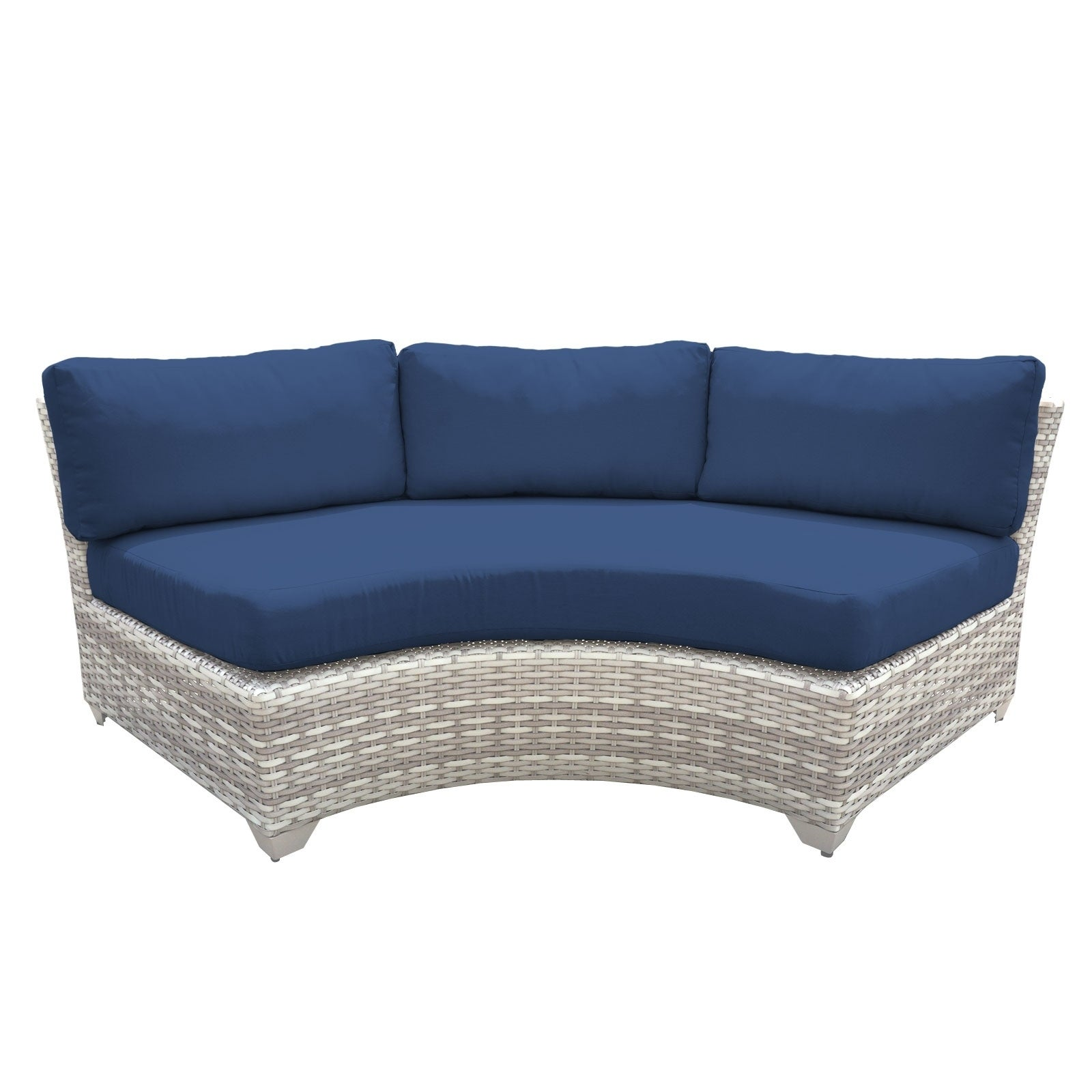 Catamaran Outdoor Patio Curved Wicker Sofa (Set of 2) (Na...