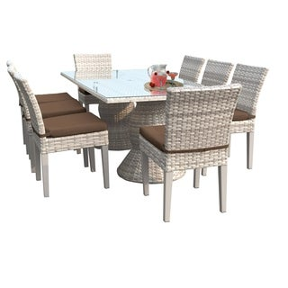 Catamaran Outdoor Patio Rectangular Wicker Dining Table and 8 Side Chairs with Seat Cushions