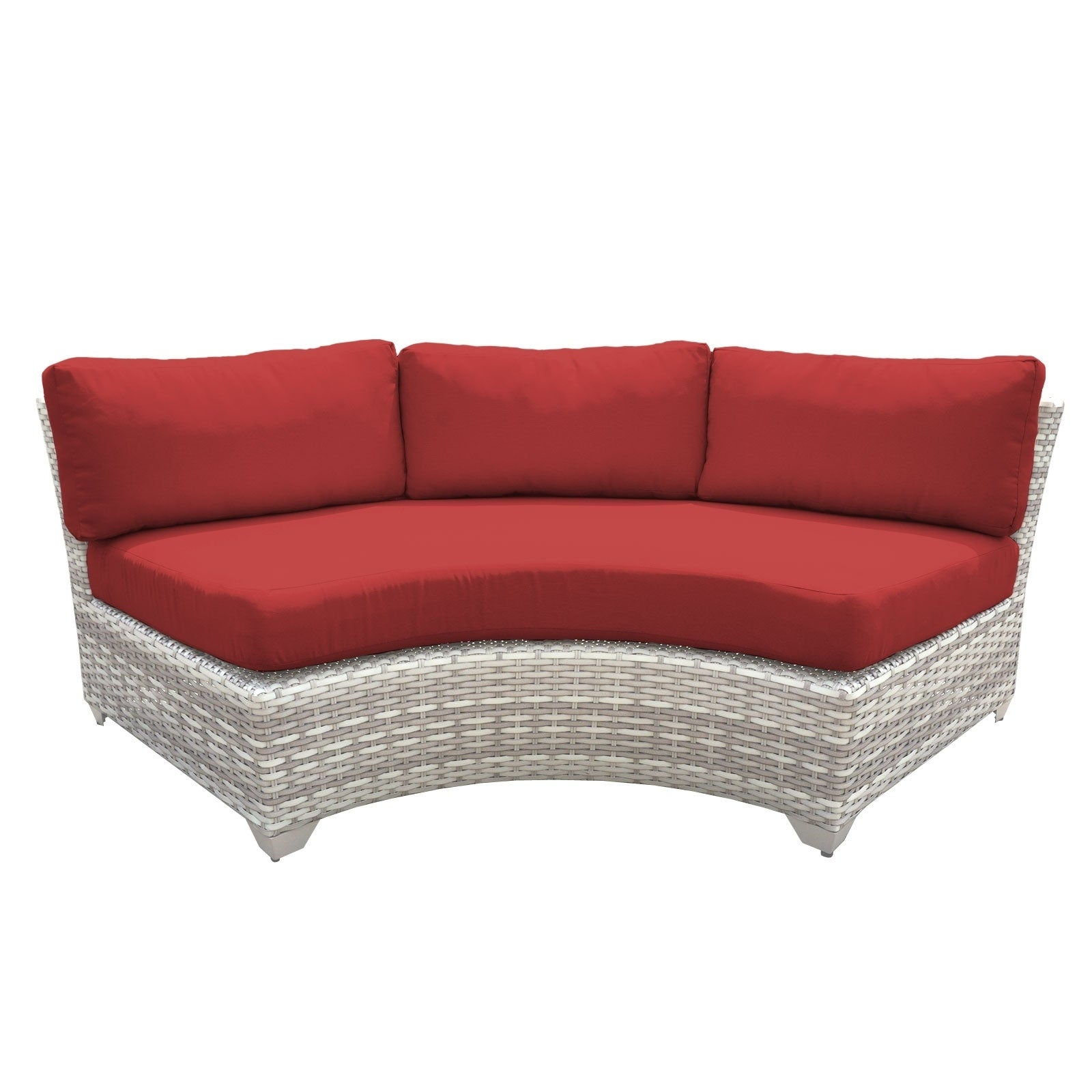 Catamaran Outdoor Patio Curved Wicker Sofa (Crimson), Gre...