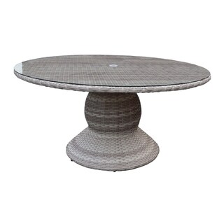 Catamaran Outdoor Patio Round Wicker Dining Table with Glass Topper