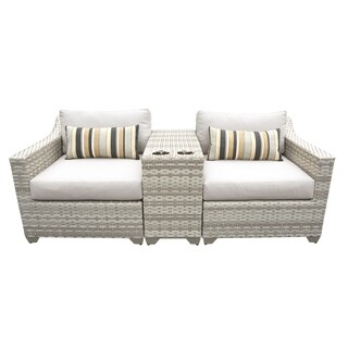 Catamaran 3-Piece Outdoor Patio Wicker Lounge Set with Beverage Ledge