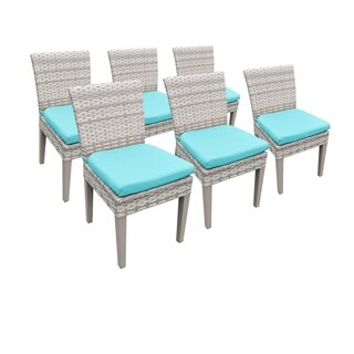 Catamaran Outdoor Patio Wicker Side Chairs with Seat Cushions (Set of 6)