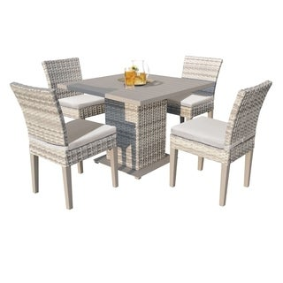 Catamaran Outdoor Patio Square Wicker Dining Table and 4 Side Chairs with Seat Cushions