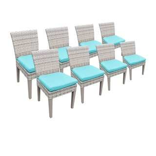 Catamaran Outdoor Patio Wicker Side Chairs with Seat Cushions (Set of 8)
