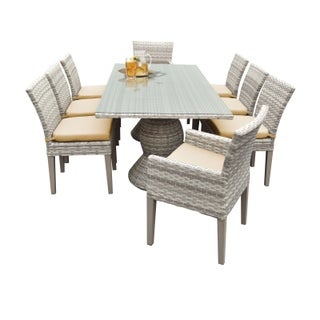 Catamaran Outdoor Patio Rectangular Wicker Dining Table with 6 Side Chairs and 2 Arm Chairs with Cushions (Option: Honey)