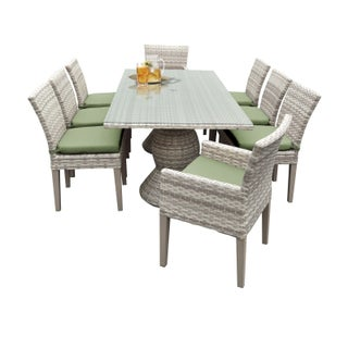 Catamaran Outdoor Patio Rectangular Wicker Dining Table with 6 Side Chairs and 2 Arm Chairs with Cushions (Option: Green)