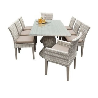 Catamaran Outdoor Patio Rectangular Wicker Dining Table with 6 Side Chairs and 2 Arm Chairs with Cushions
