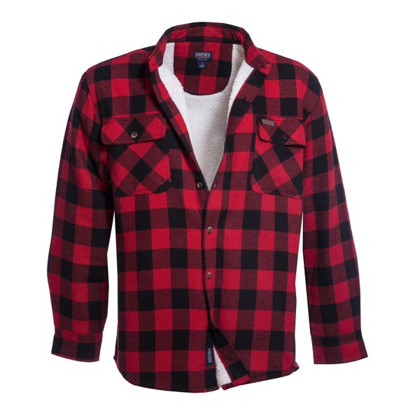 Smith's Workwear Sherpa Lined Flannel Shirt Jacket - Free Shipping ...