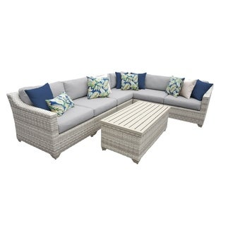 Catamaran 7-Piece Outdoor Patio Wicker Sectional with Storage Table
