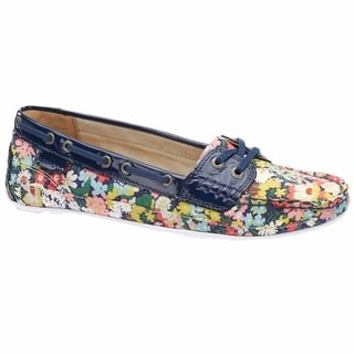 Sebago Women's Bala Boat Shoe Thorpe Print Navy Patent Leather