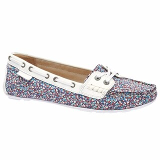 Sebago Women's Bala Boat Shoe Pepper Print White Patent Leather