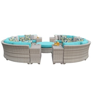 Catamaran 11-Piece Outdoor Patio Wicker Sectional Set with Beverage Ledges and Coffee Table