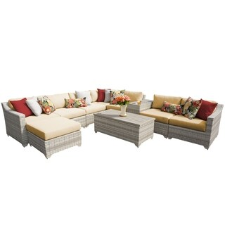 Catamaran 10-Piece Outdoor Patio Wicker Sectional Set with Beverage Ledge and Storage Table