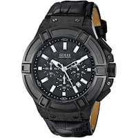GUESS Black Leather Chronograph Mens Watch