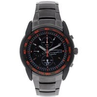 Seiko Alarm Chronograph Black Anodized Mens Watch