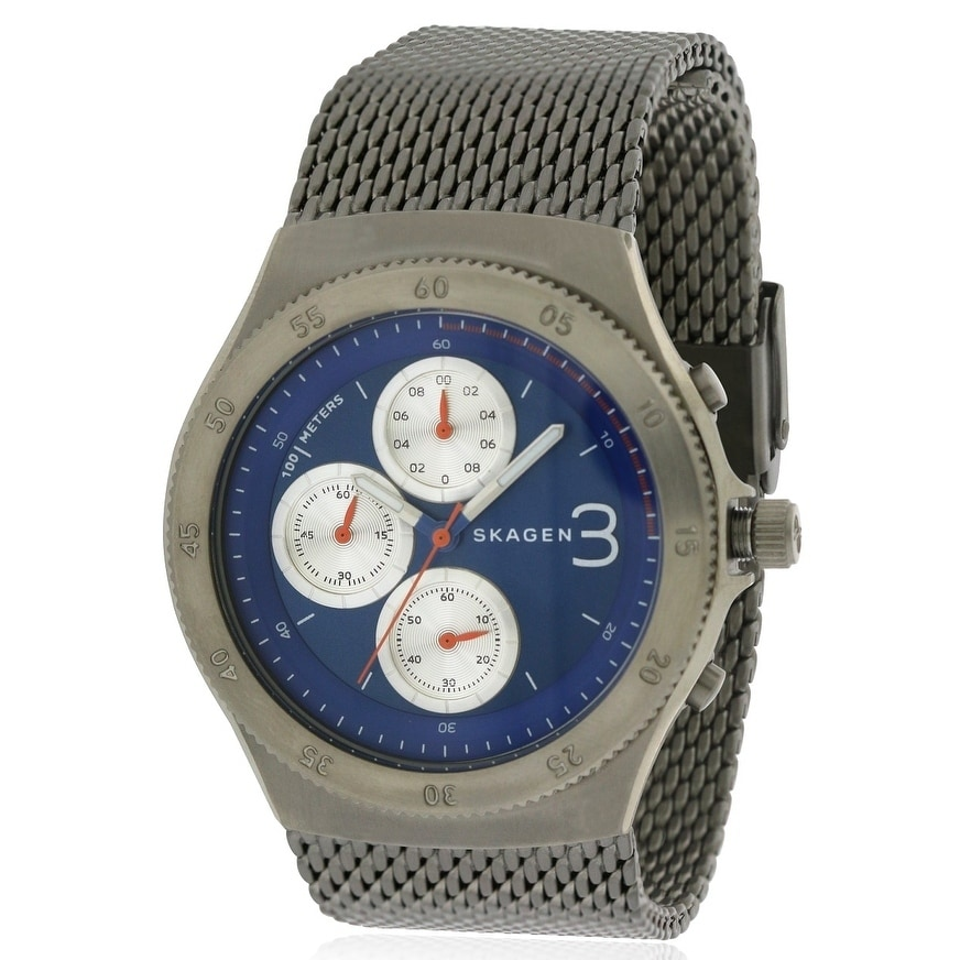 Skagen Jannik Mesh Chronograph Mens Watch SKW6154, Blue, ...