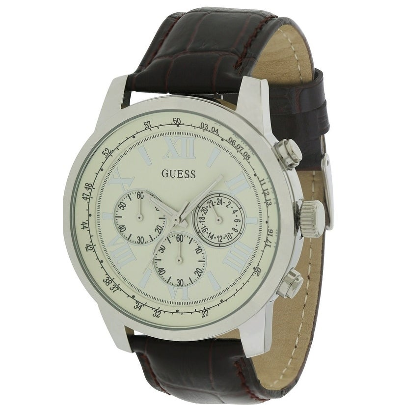 Guess Leather Chronograph Mens Watch U0380G2, Brown, Size...