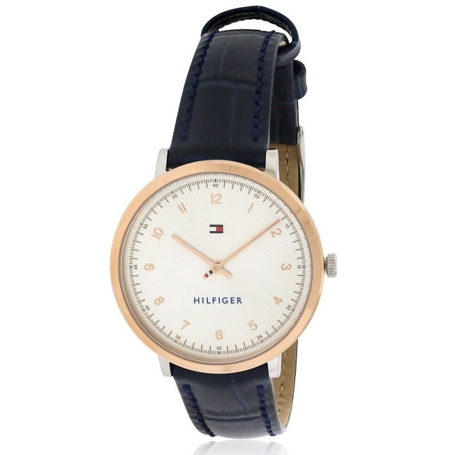 Tommy Hilfiger Leather Ladies Watch 1781764, Rose-Tone, S...