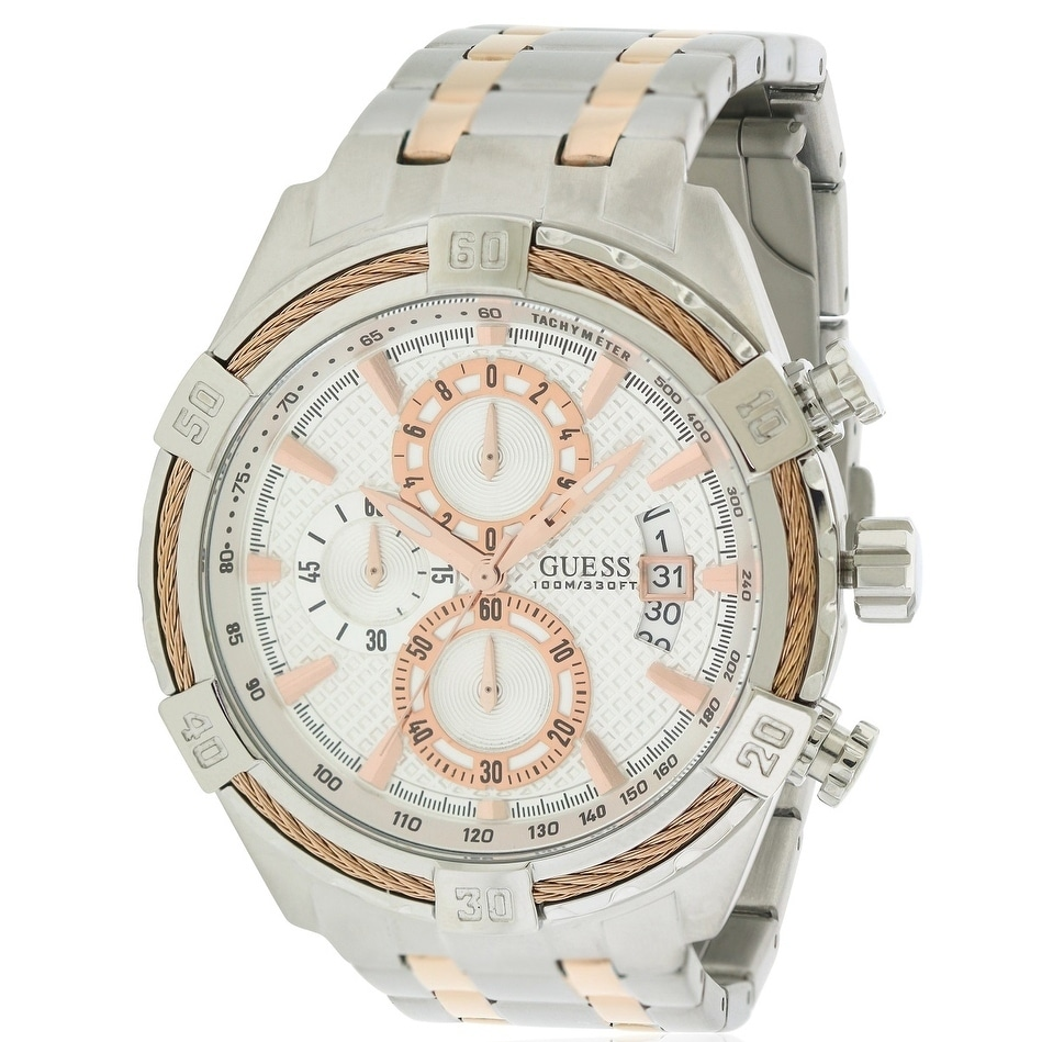 Guess Two-Tone Stainless Steel Chronograph Mens Watch U05...