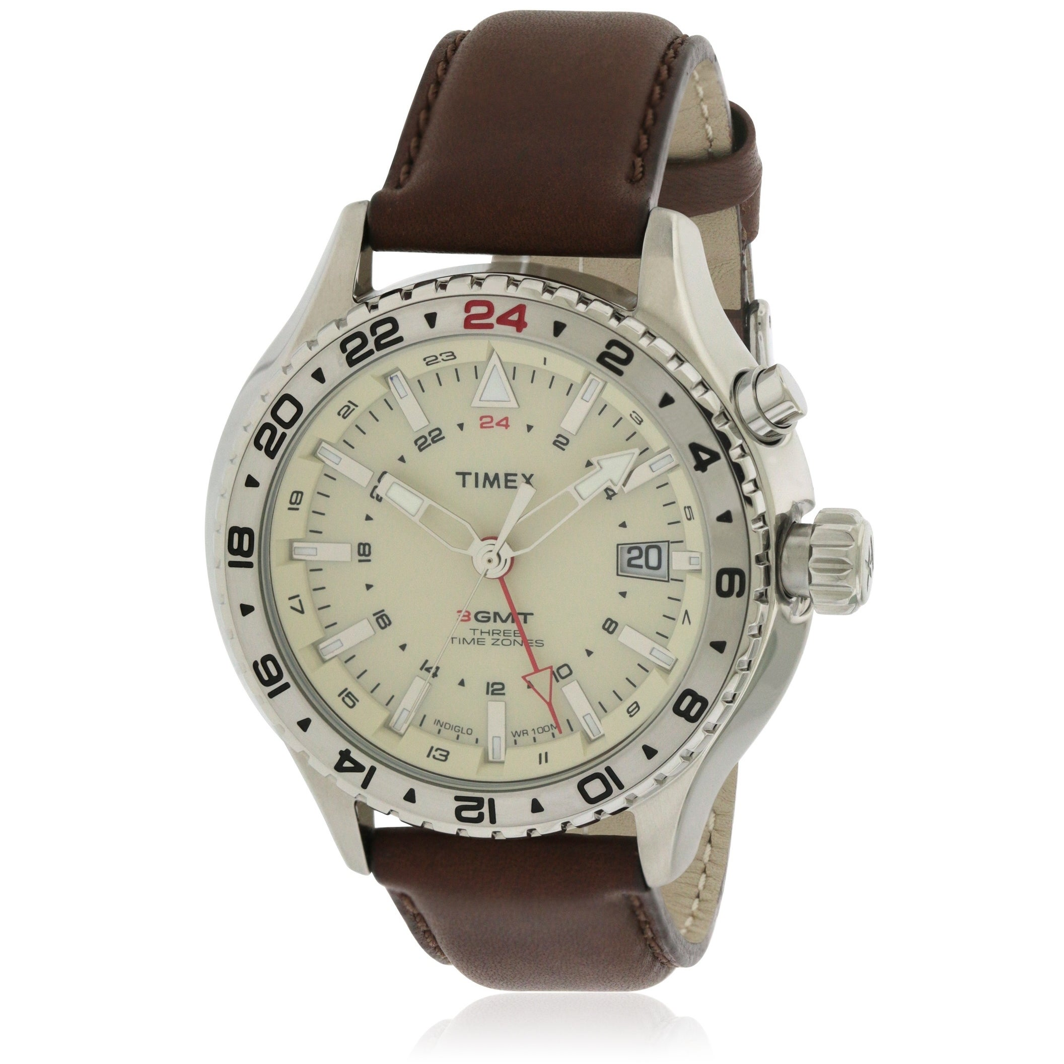 Timex Leather Mens Watch T2P426, mirrored, Size One Size ...