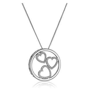Marabela Sterling Silver Diamond Trio of Hearts Circle Pendant - White H-I