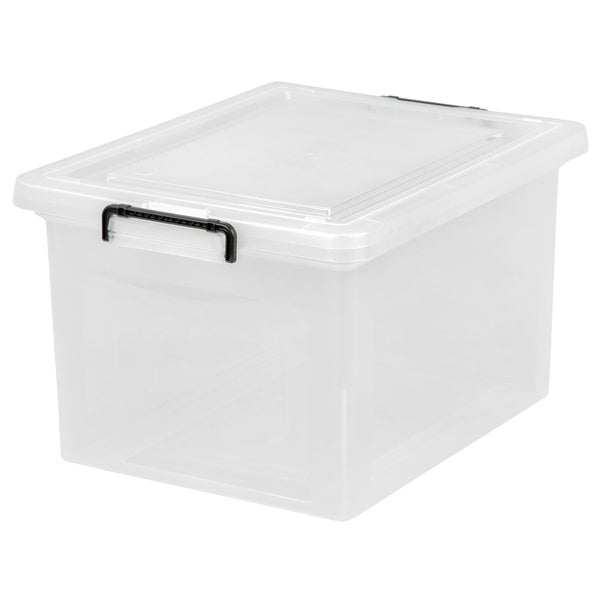 IRIS Letter/Legal File Box with Buckles, 6 Pack, Clear